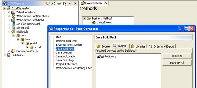 Excel creation using Apache POI APIs in EJB and exposing it as web
