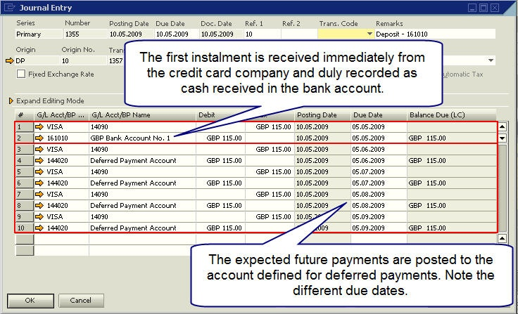 purpose   deferred payment account  depositing credit card vouchers
