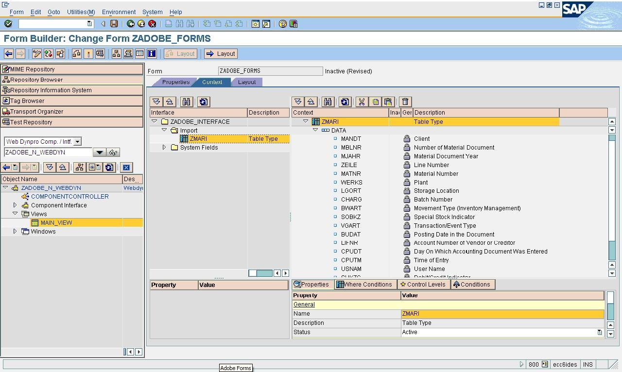 call adobe form through abap web dynpro web dynpro abap scn wiki then click the layout tab then below screen will appear