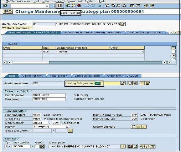 E Signature For Maintenance Plants Master Data Ecc 6 0
