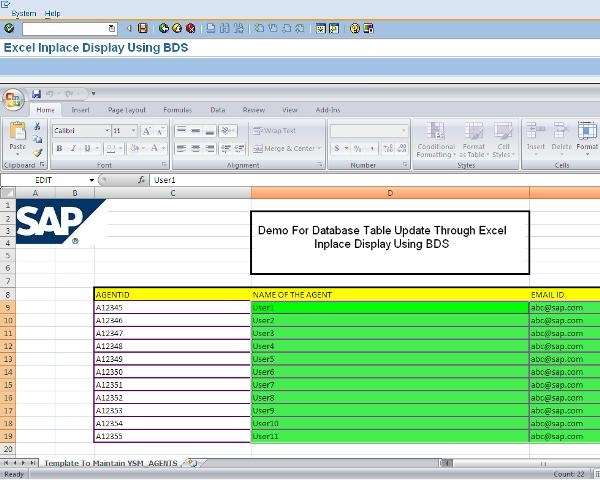 Handling Data in Excel In-place Display Using BDS - ABAP
