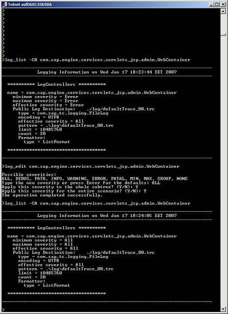 JSTTSG)(Web)Enable logs from telnet - SAP Netweaver