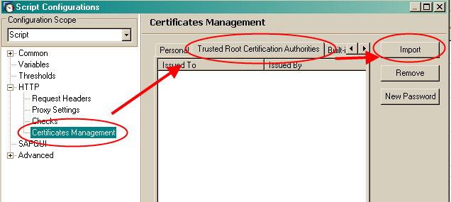 Import Http Trust Certificate - End-User Experience Monitoring - SCN