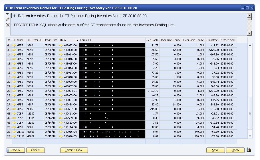 SAP B1 SQL H-IN Item Inventory Details For ST Postings