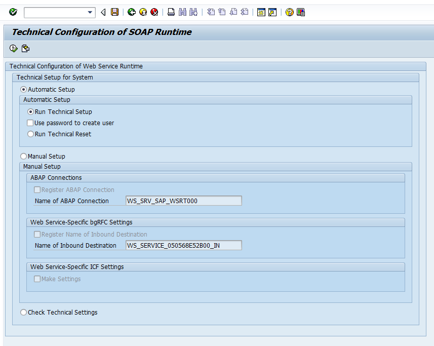 Technical Setup and Reset of the Web Service Runtime - ABAP