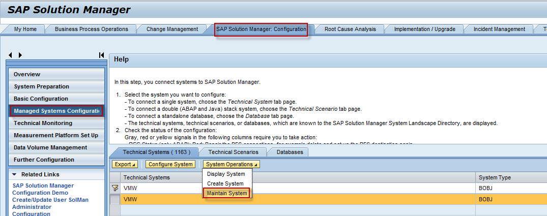 Managed System Setup of BOE 4 X system in Solman 7 1 and 7 2 - SAP