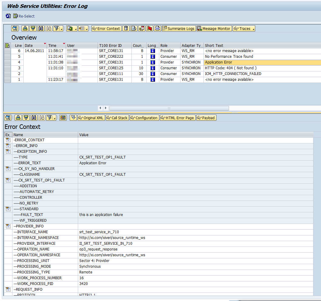 Error Log: ABAP Web Service Monitors