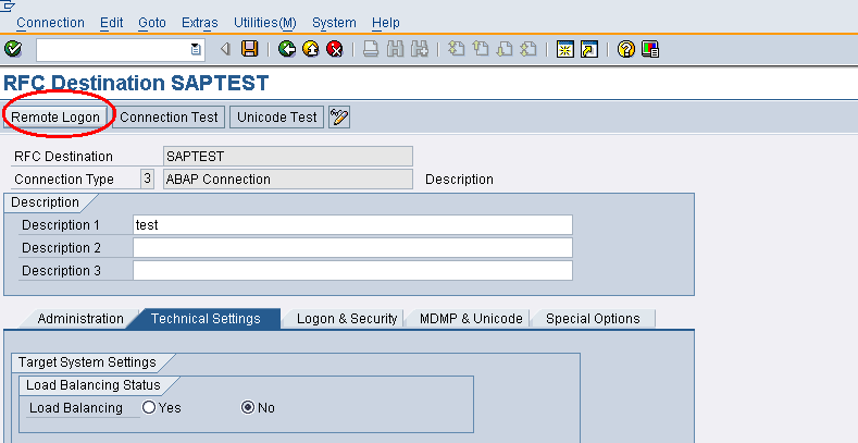 Remote Logon Button In Sm59 Does Not Work Abap