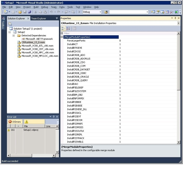Using Crystal Reports for Visual Studio 2010 Merge Modules (MSM) to
