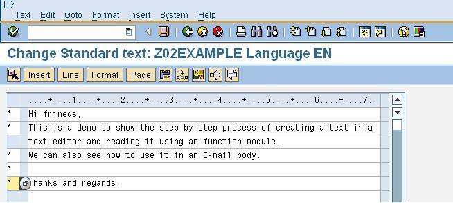 Step by Step Process of Creating and Accessing a Standard Text