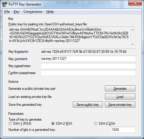 generate public key from private key puttygen