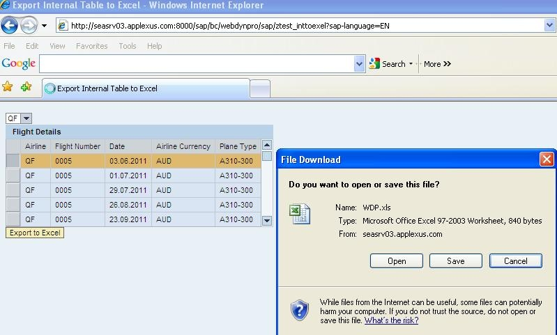 Exporting Internal Table Contents to Excel File – Web Dynpro