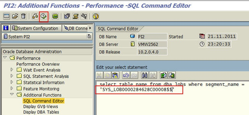 How to identify the owners of large LOB tables in PI on Oracle DB