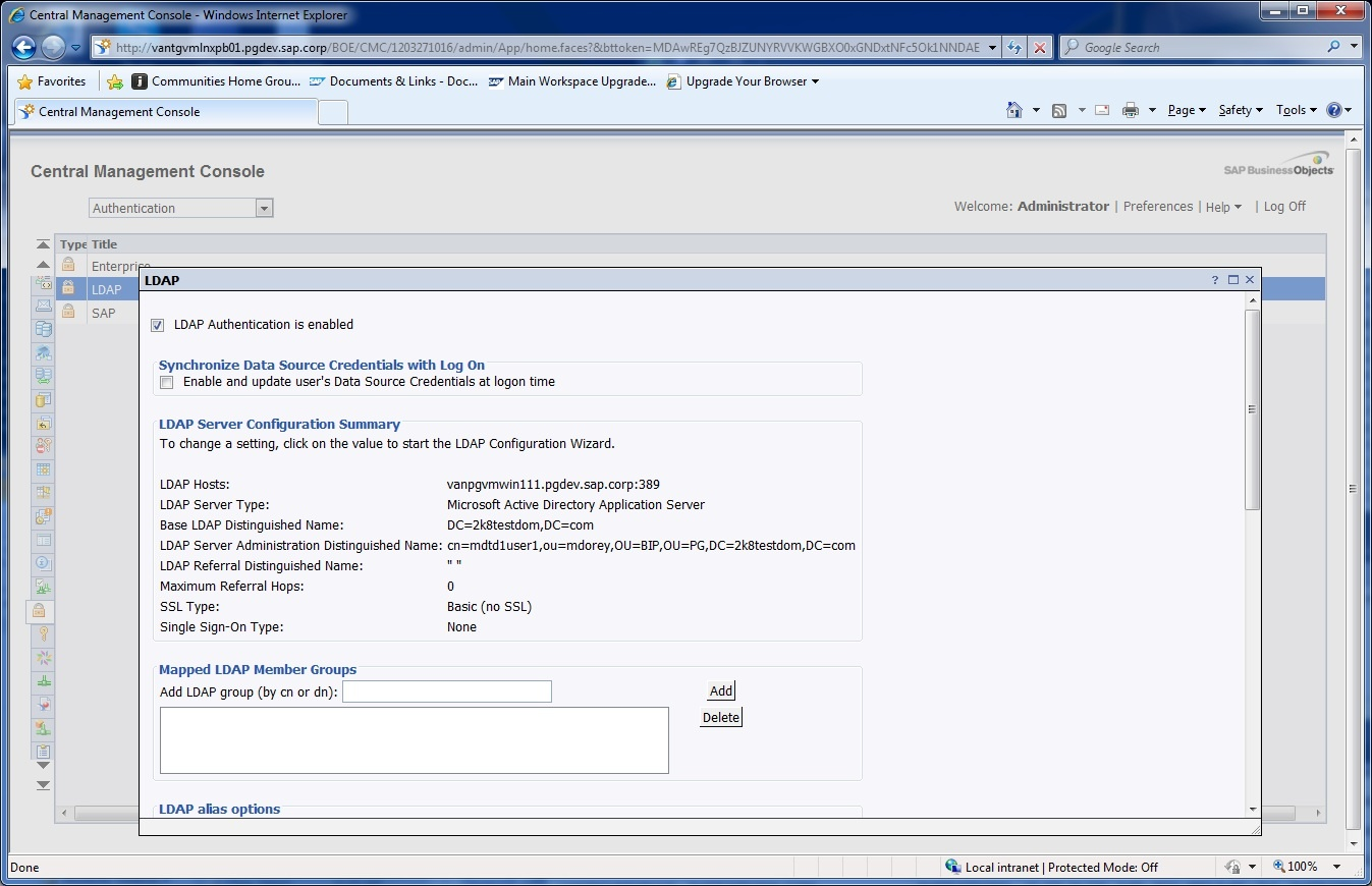 Setting up the LDAP connector - Business Intelligence