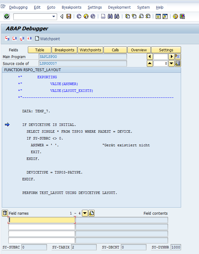 sap how to debug when run from personas