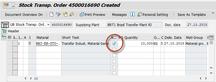 Stock Transfer Order (STO) with Full or Partial Return of