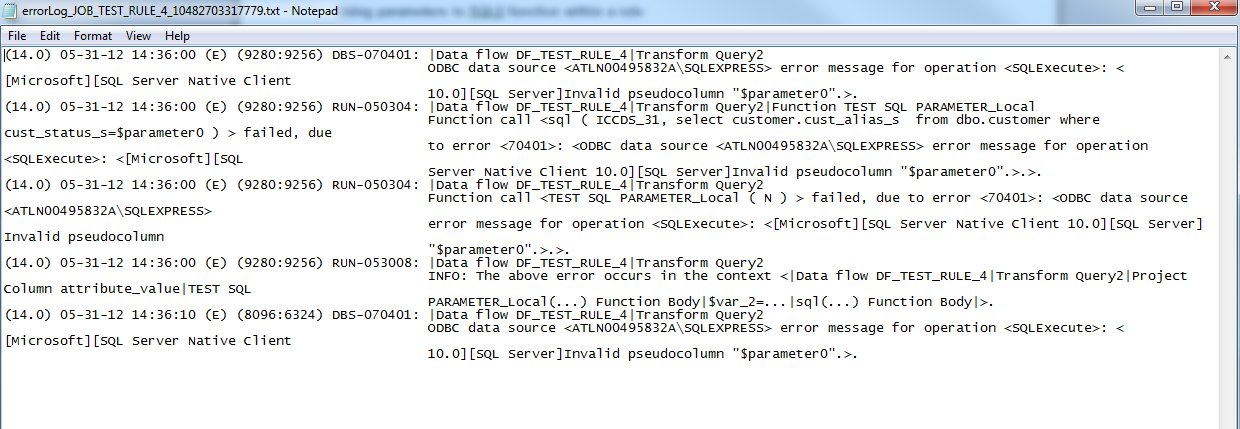 how to detect error in sql