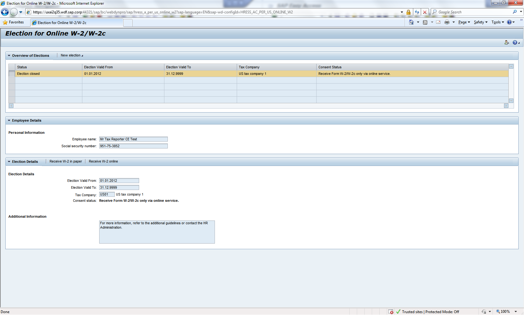 Testing W 2 Online Services Ess Erp Human Capital