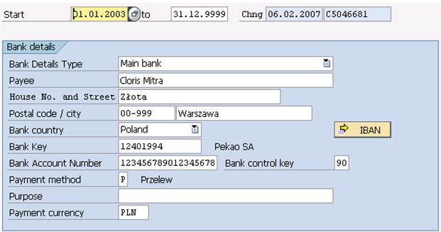 The 0009 Infotype Bank Details Erp Human Capital