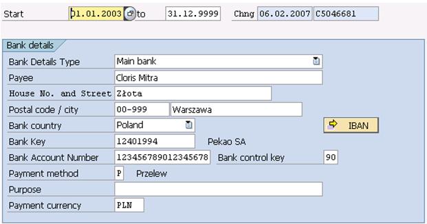 the 0009 infotype - bank details - erp human capital management