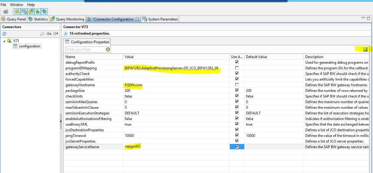 SAP BW With RFC JCO Connections In Information Design Tool