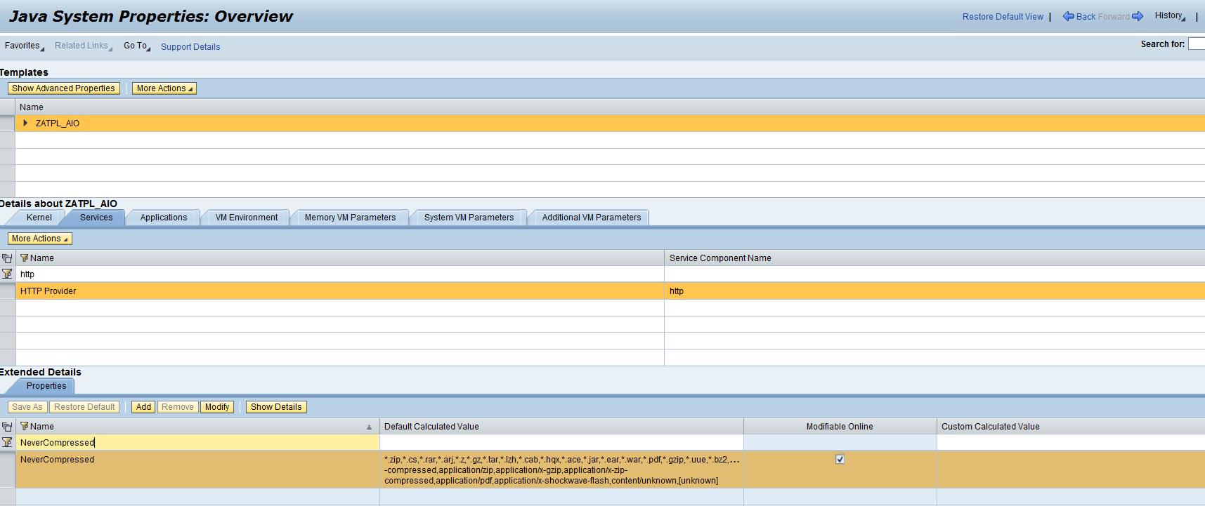 Disabling http response content compression - SAP Netweaver