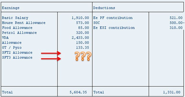 Amount missing in Payslip - ERP Human Capital Management