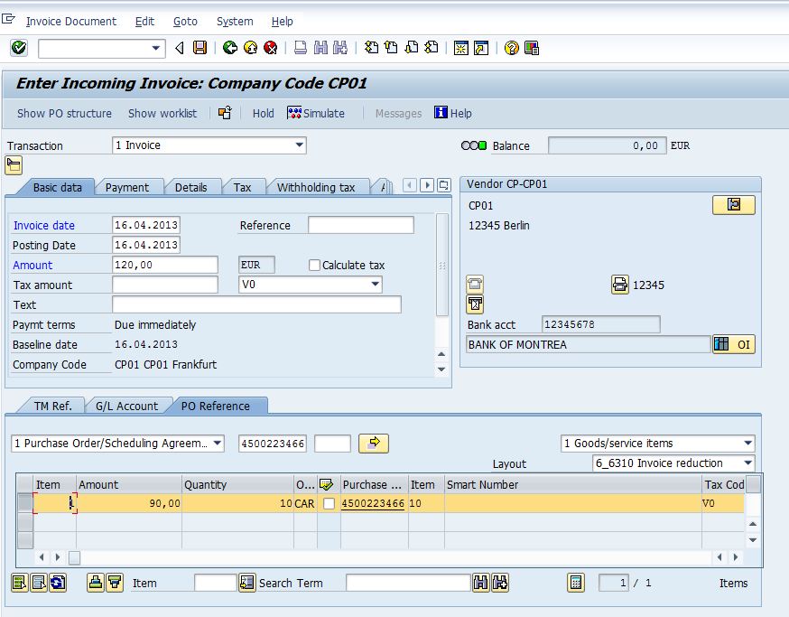 Invoice Reduction with document Splitting Active Example - ERP