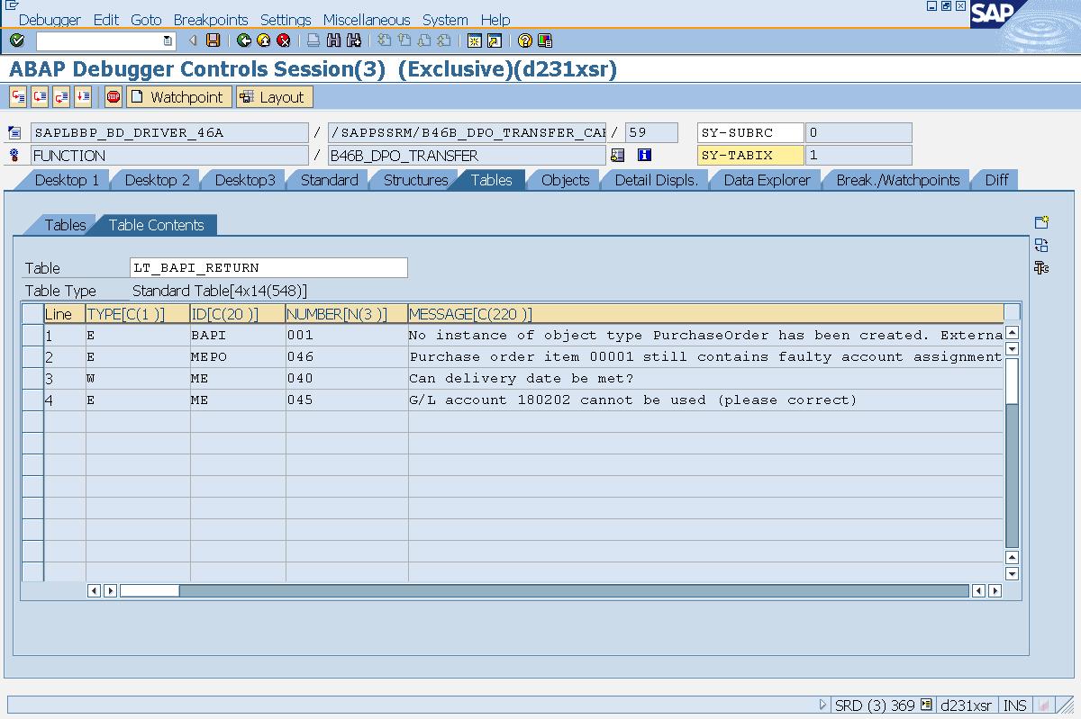 Debugging Guide for SRM PO transfer (Extended Classic Scenario