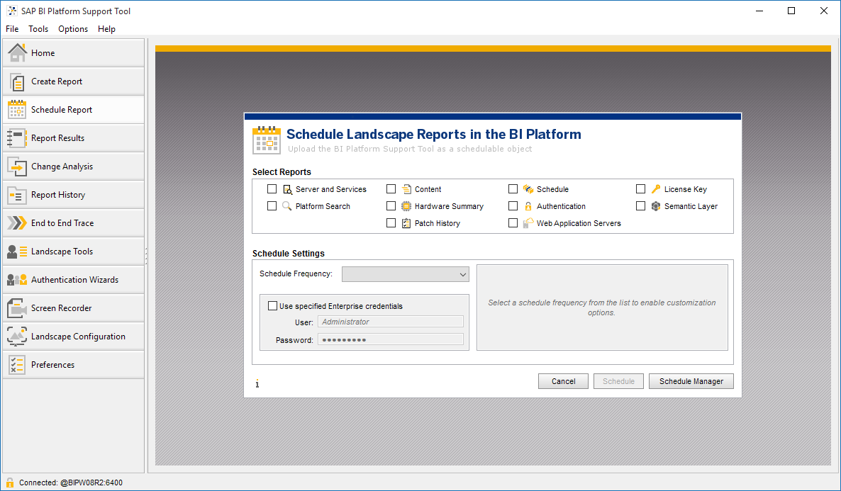 SAP BI Platform Support Tool - Business Intelligence