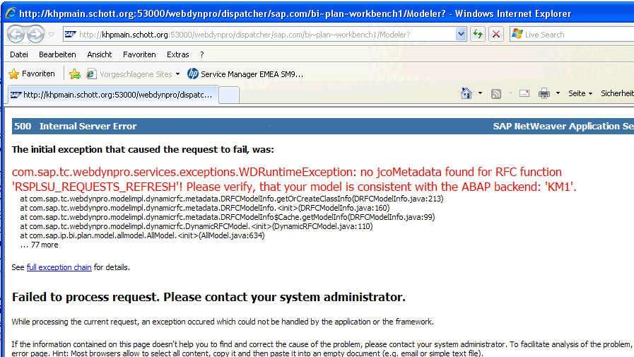 Planning Modeller RSPLAN - 500 Internal Server Error after