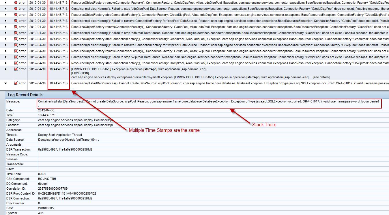 Internal Error Occured - UI error message - SAP