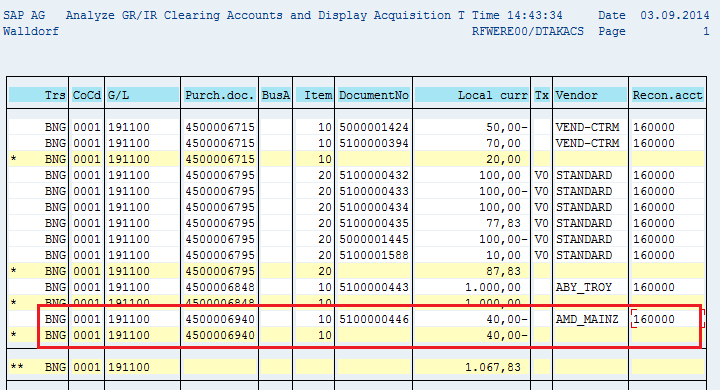 how to clear gr ir account in sap