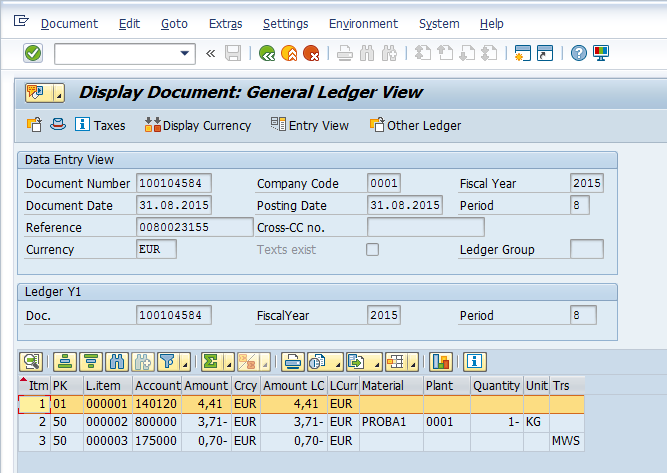 quantity update in entry view and general ledger view erp