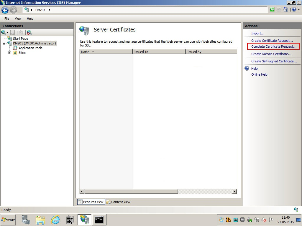 Howto generate an ssl certificate for https traffic sap mobility in the server certificates store you can now complete certifictae request and provide the cer file xflitez Choice Image