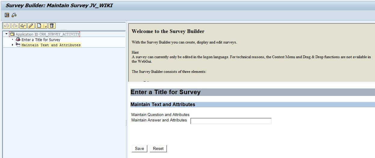 Survey Processing in CRM Marketing CRM SCN Wiki – Blank Survey