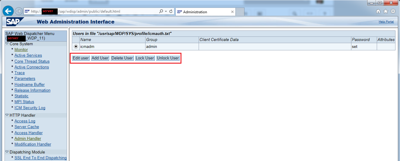 Managing user IDs for the Web Administration Page - Application