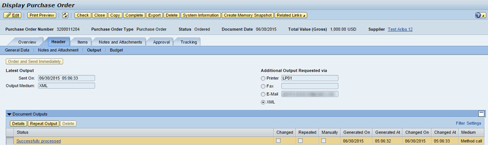 Changing the vendor output does not update the Purchase Order Output