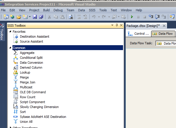 Configuring ADO NET Destination dll for SSIS with Studio