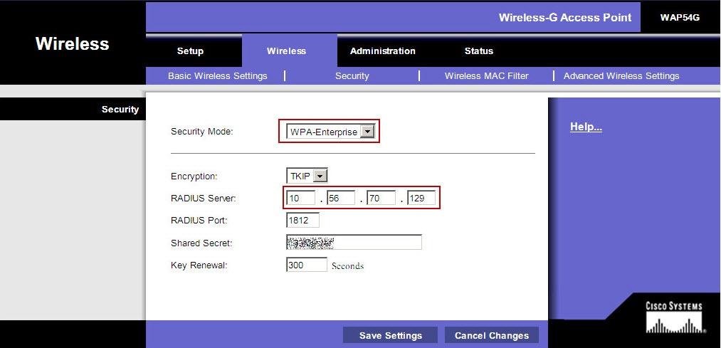 3 1 - Configure the Wifi Access Point for WPA enterprise