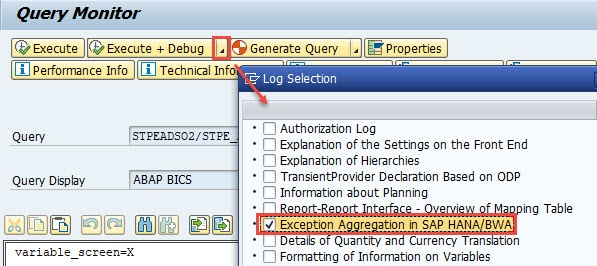 How to check why exception aggregation is not pushed down to HANA DB