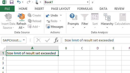Analysis for Office 2 x - Data Cells Limit and Memory