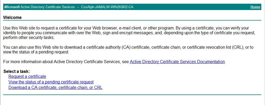 Generating a self-signed SSL Certificate using Microsoft CA