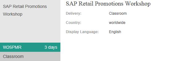 W26PMR - SAP Retail Promotions Workshop - SAP for Retail