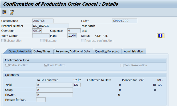 Production order : status DLV and indicator Delivery