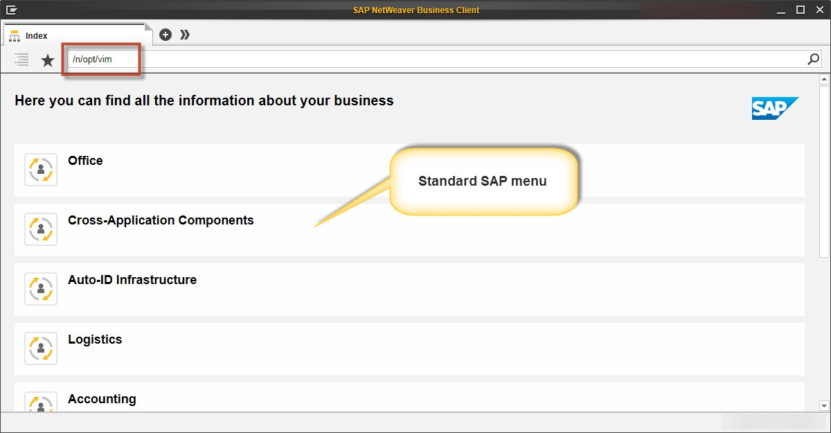 Opentext Vendor Invoice Management Area Menu in NWBC Desktop