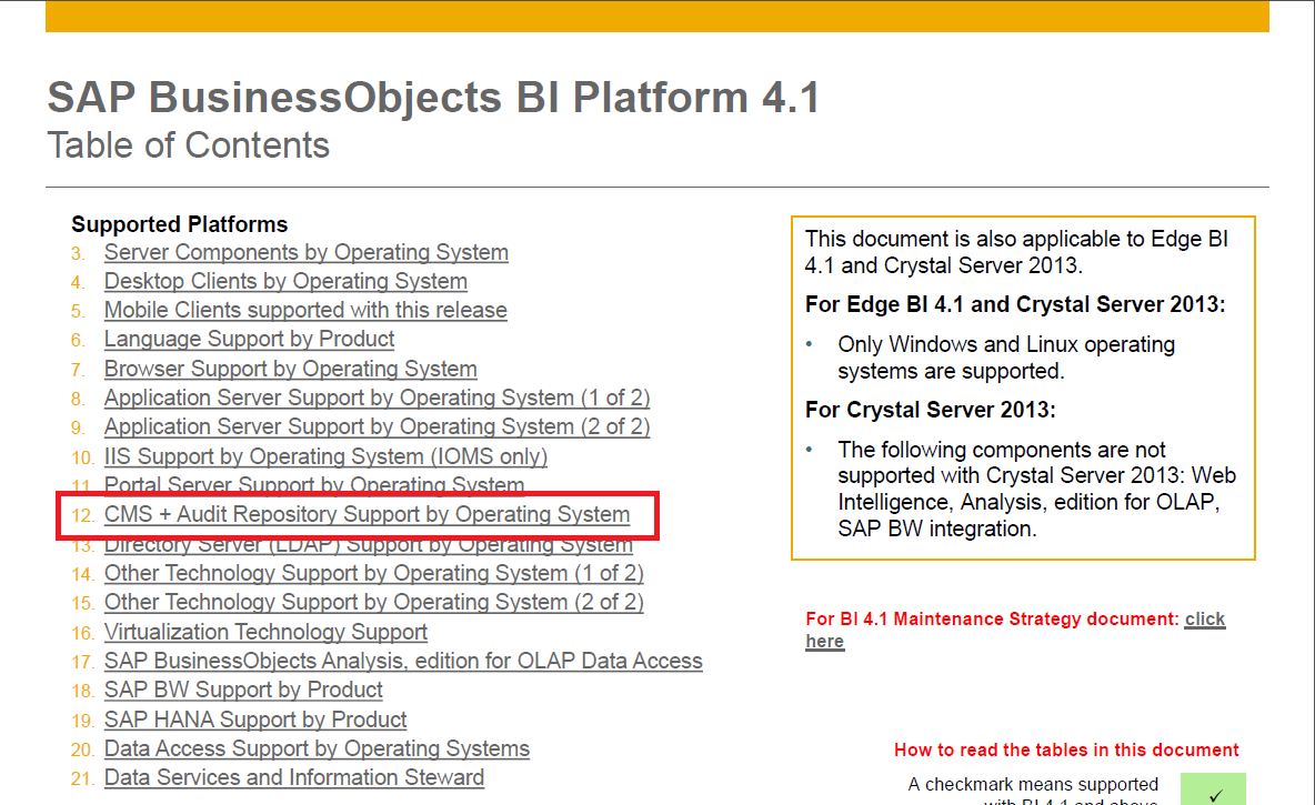 Using SQL Anywhere for a CMS and Auditing Database with BI 4 1
