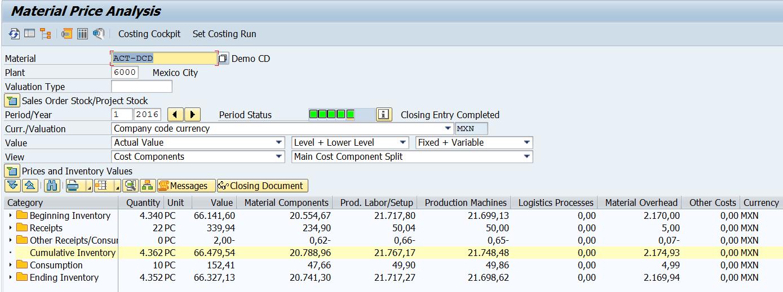 Actual Cost Component Split CCS - ERP Financials - SCN Wiki