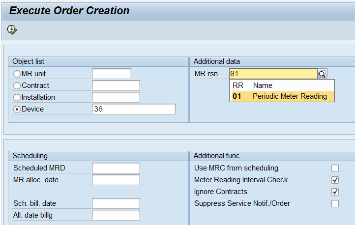 IS-U meter reading – individual order creation EL01, User-Exits and
