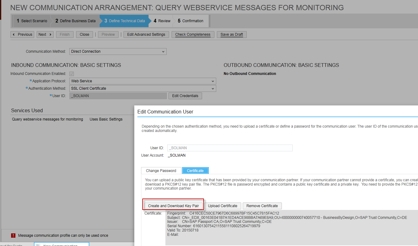 Communication arrangementuser configuration in sap c4c bydesign if you are using ssl client certificates you can download certificate by clicking on edit credential 1betcityfo Images